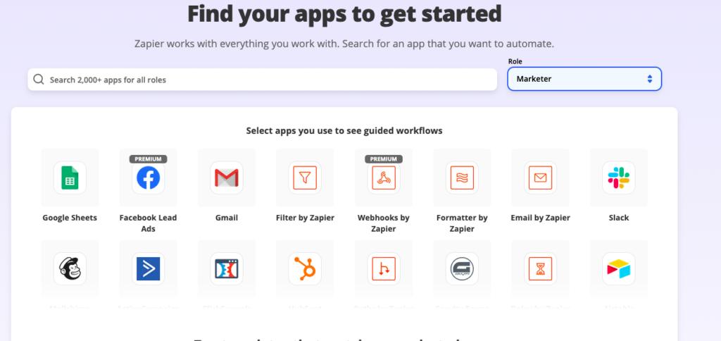 Inventaires des applications pour Marketer @ zapier.com