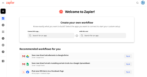 Création d'un zap @ zapier.com