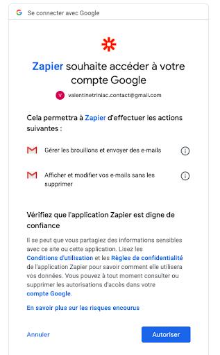 Autorisation accès comptes Zapier @ zapier.com